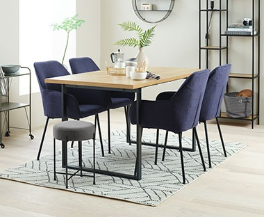dining table and dining chairs in dark blue