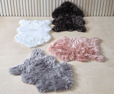 Four multi coloured fake fur