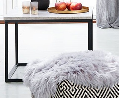Faux fake fur fluffy and soft rug in grey
