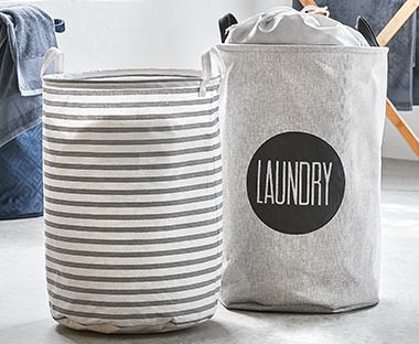 Grey and white laundry baskets for home organisation