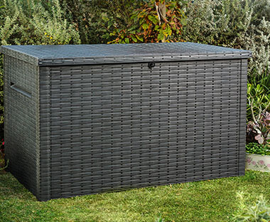 Plastic outdoor storage and cushion box with hydraulic lid in black