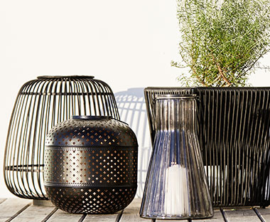 Black bamboo lantern for candle