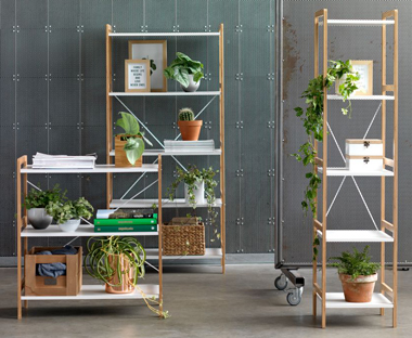 Bamboo and white shelving unit