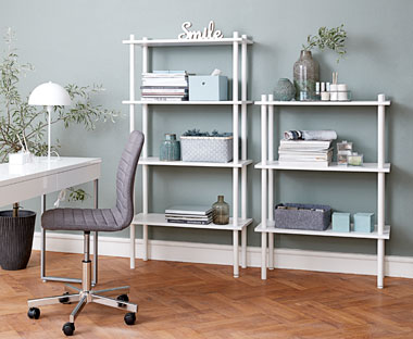 White shelving unit in wood and metal