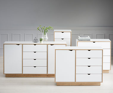 White and oak chest of drawers with door