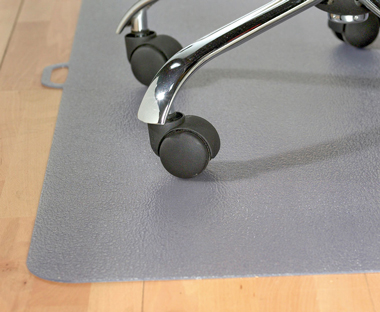 Foldable, grey office chair mat.