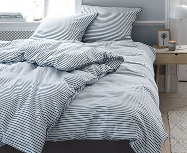 Soft cotton striped bed linen