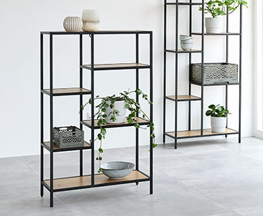 shelving unit with 5 shelves in oak and black