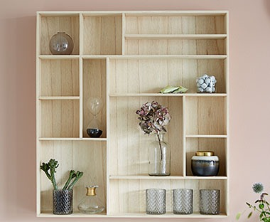 Wooden box shelf with multiple compartments