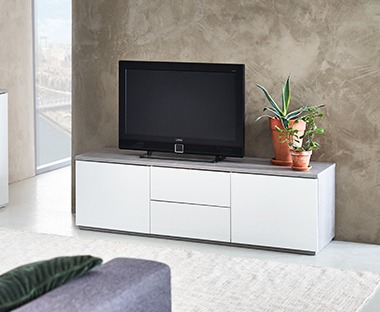 modern white tv stand with push-open drawers