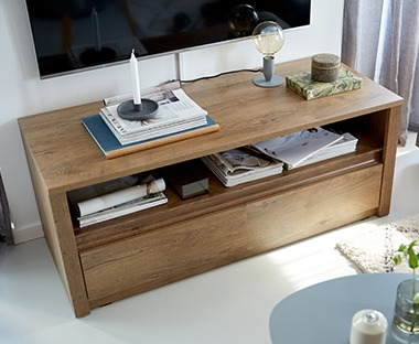 solid oak tv unit with shelf and drawers