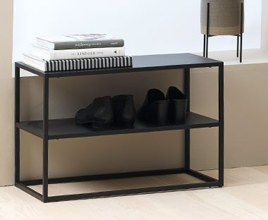 Shoe rack with 2 shelves in black