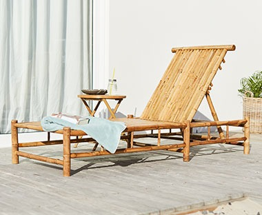 Bamboo wooden sunlounger with recliner back