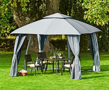 Grey gazebo with water resistant canopy, insect screen and removable side panels