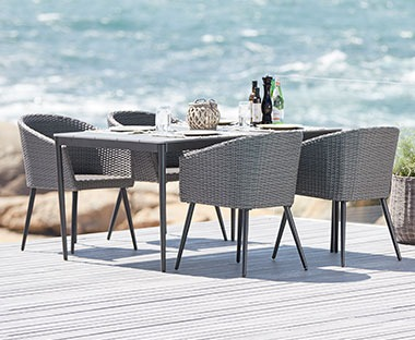 Outdoor dining table in metal and artwood, rectangular and grey