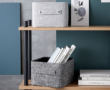 Black and grey storage baskets