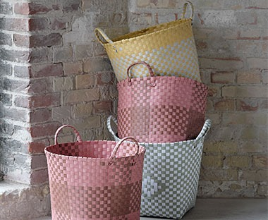 Bright storage baskets available in Brown, Grey, Yellow