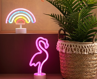 Flamingo or rainbow neon decorative light