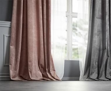 Thick curtains with curtain tape and pole pocket in pink, dark rose colour