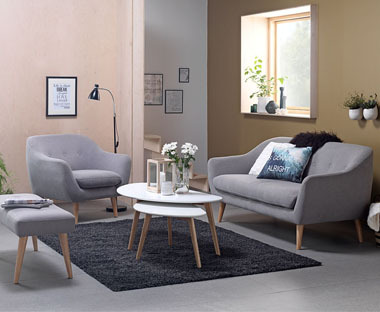 Luxury affordable matching fabric sofa and armchair.