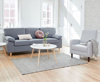 3 seater upholstered grey sofa