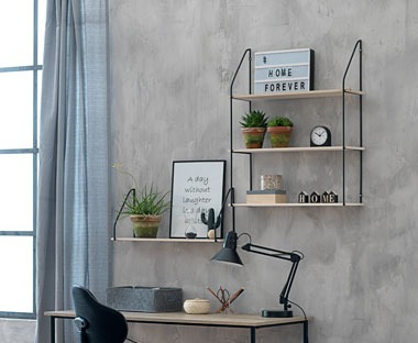 Industrial style metal and wood shelving