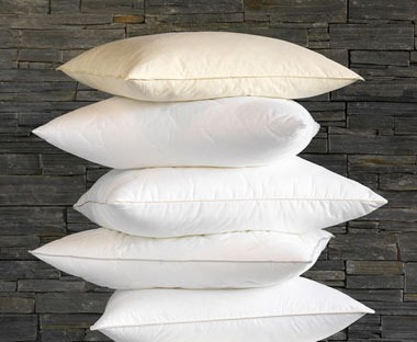 Selection of pillows in different heights and firmness