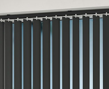 Black vertical blind with automatic lock cord and bead chain
