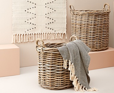 Round rattan wicker style basket with handles