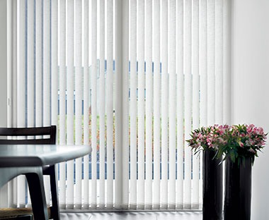 Patio door white vertical blinds in white