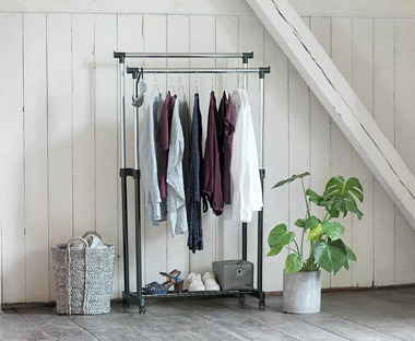 Black and chrome clothes rail with two hanging rails