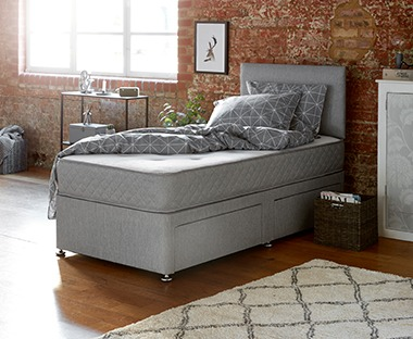 Single divan base with two drawers in light grey