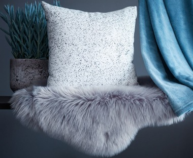 Soft fake fur grey rug
