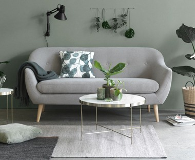 2.5 seater light grey fabric sofa with wooden legs