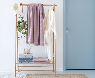 Wooden clothes rail in bamboo