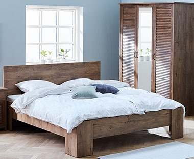 VEDDE deco veneer bed frame in dark oak
