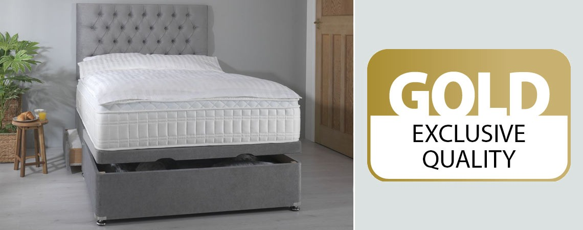 Double bed and headboard with thick mattress and duvet