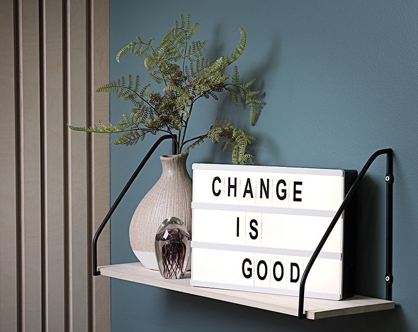 "TORLEIF light box with the text ""Change is good"""