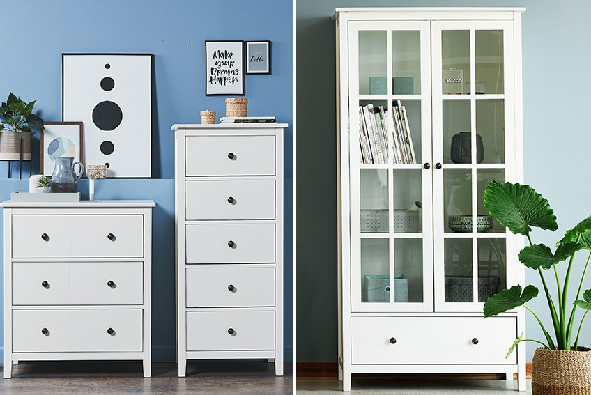 2 white chests of drawers with 3/5 drawers and a white display cabinet with 2 doors and a drawer