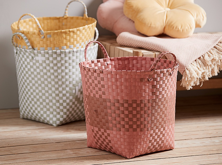 Bright storage baskets in Brown, Grey, and Yellow