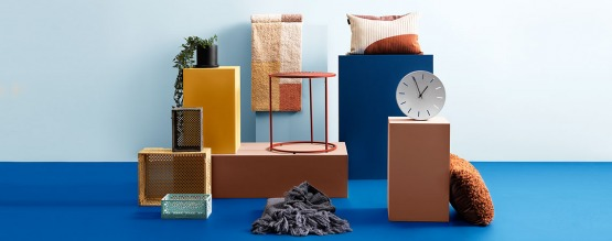 Storage boxes, cushions and small furniture with a playful twist
